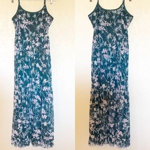 Xhilaration Long Floral Ruffled Maxi Dress Sz L